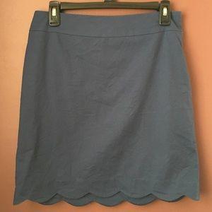 Talbots Navy Scalloped Edge Skirt